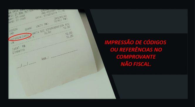 Novo Recurso: IMPRESSÃO DE CÓDIGOS  OU REFERÊNCIAS NO COMPROVANTE NÃO FISCAL.